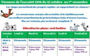 Les Vacances de Toussaint : Inscription dès maintenant !!!